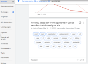 [object object] Digital Marketing Advice for the Corona Crisis – Google Ads Perspective Overview Tab New Searches 300x219