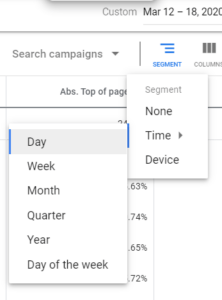 [object object] Digital Marketing Advice for the Corona Crisis – Google Ads Perspective Segment Auction Insights day by day 2 222x300