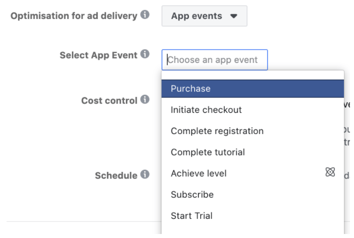 Optimizing for App events in FB