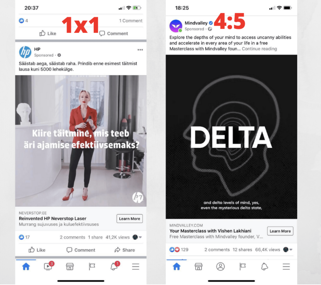 1x1 vs 4:5 ratio Fb ads