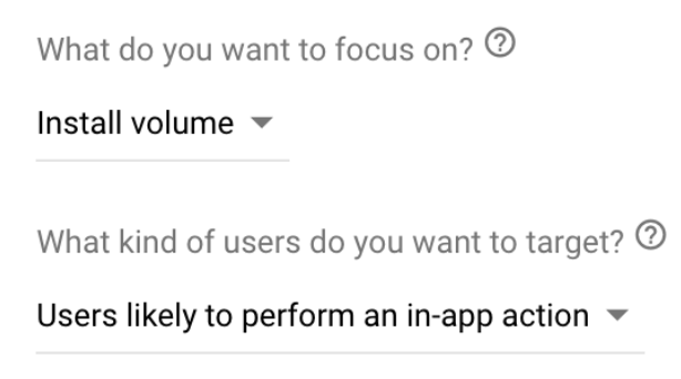 Users likely to perform an in-app action