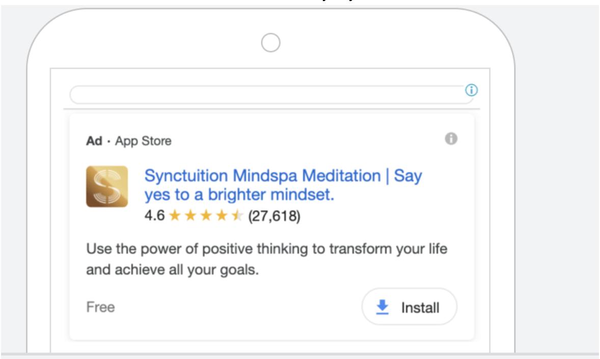 Google App campaign text ads
